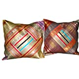 2 Deep Sandstrum Orange Blue Red Sari Zari Borders Toss Pillow Cushion Covers Free Shippingby Mogulinterior