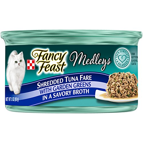 Fancy Feast Shredded Tuna Fare With Garden Greens In A Savory Broth