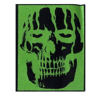 Black Skull on Green - Screenprinted Sew On or Pin On Cloth Patch - Buy Black Skull on Green - Screenprinted Sew On or Pin On Cloth Patch - Purchase Black Skull on Green - Screenprinted Sew On or Pin On Cloth Patch (Square Deal Recordings & Supplies, Apparel, Departments, Accessories, Women's Accessories)