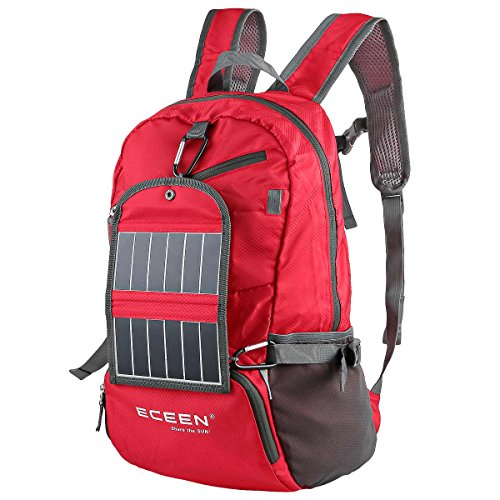 ECEEN® Solar Powered Hiking Daypacks with 3.25 Watts Solar Charger for Hiking, Travel, Backpacking, Biking, Camping – Folds Up into Carry Pouch – Power for Smart Cell Phones and More