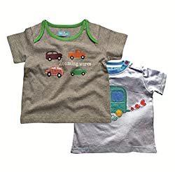 Juscubs Printed with applique t-shirts combo- gray melange cars & white van artworks