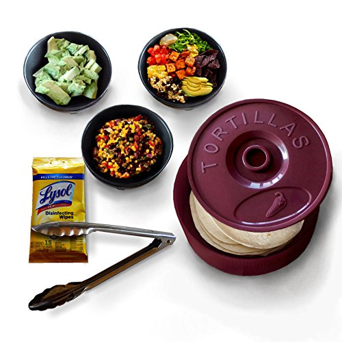 Tortilla Warmer Keeper Microwave Food Server 8.5 Inches with Lid, Stainless Tongs, Guacamole Bowl (3), Molcajete, Serving Dishes. Dishwasher Safe. Bonus 15 Count Lysol Wipes (Mexican Salsa Plate compare prices)