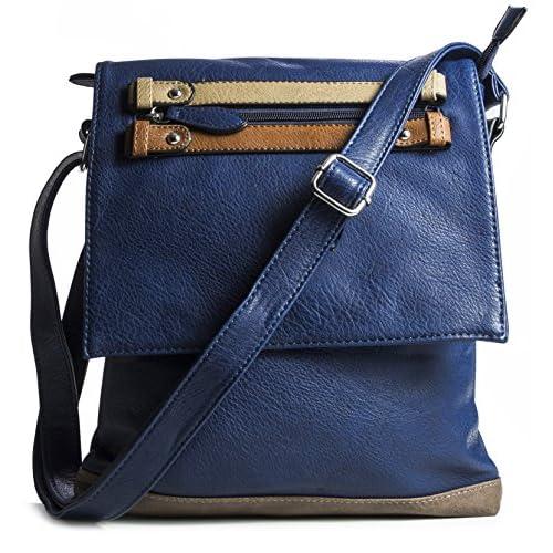 Big Handbag Shop Womens Faux Leather Flap Opening Messenger Bag