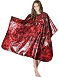 XMW Printing Durable Water Repellent Styling Cape with Snaps Red