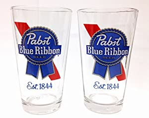 Pabst Blue Ribbon PBR Glass Set of 2 Glasses
