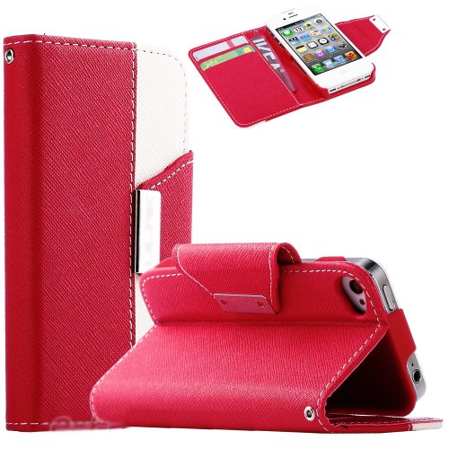 Mylife Electric Red And Vibrant White Classic Design - Textured Koskin Faux Leather (Lanyard Strap + Card And Id Holder + Magnetic Detachable Closing) Slim Wallet For Iphone 4/4S (4G) 4Th Generation Touch Phone (External Rugged Synthetic Leather With Magn