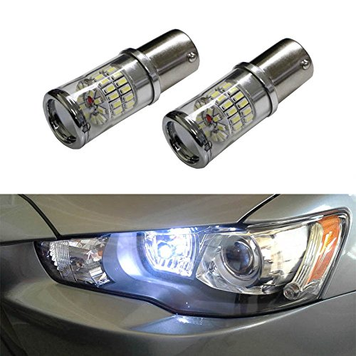 Ijdmtoy (2) Canbus Error Free Xenon White 1156 Mirror Reflector Led Bulbs For 2008-2014 Mitsubishi Lancer Or Evolution X Daytime Running Lights
