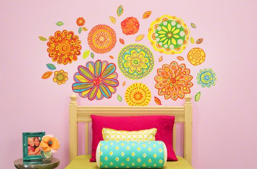 Oopsy Daisy 54 by 30-Inch Peel and Place Radiant Flowers Medium by Andrew Daniel, Medium