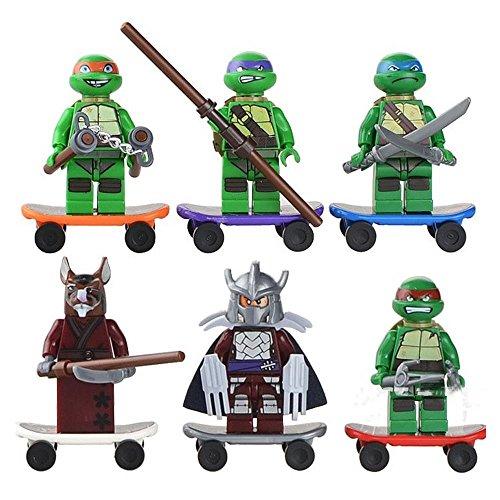 Custom 6pcs/lot Teenage Mutant Ninja Turtles Mini Figure movie Kid Baby Toy Building Blocks Sets Model Toys Minifigures Brick