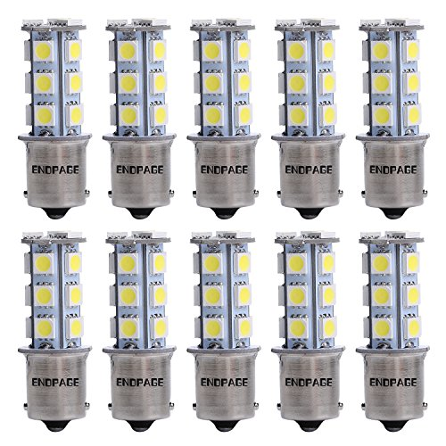 ENDPAGE 10x 1156 BA15S 7506 1003 1141 18-SMD White Car LED Bulbs Replacement for Interior Lights Tail Lights Brake Lamp Backup Reverse Lights Fit RV Camper Van etc. (Blinker Lights Led compare prices)
