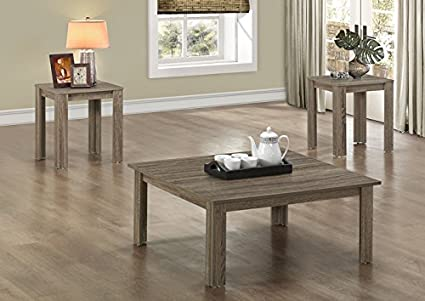 DARK TAUPE RECLAIMED-LOOK 3PCS SQUARE TABLE SET (SIZE: 36L X 36W X 15H)