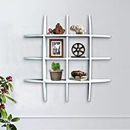 Shelving Solution Cross Display Wall Shelf (White with 2 Frames)