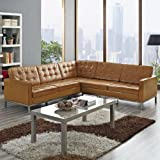 LexMod Florence Style L-Shaped Sectional Leather Sofa, Tan
