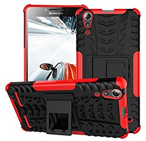 Ceres Hybrid Military Grade Armor Kick Stand Back Cover Case for Lenovo A6000 Plus (Red)