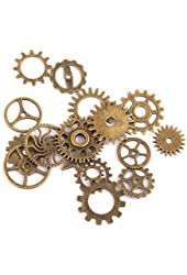 17pcs Steampunk Charm Gear Pendants Wheels DIY Necklace Findings