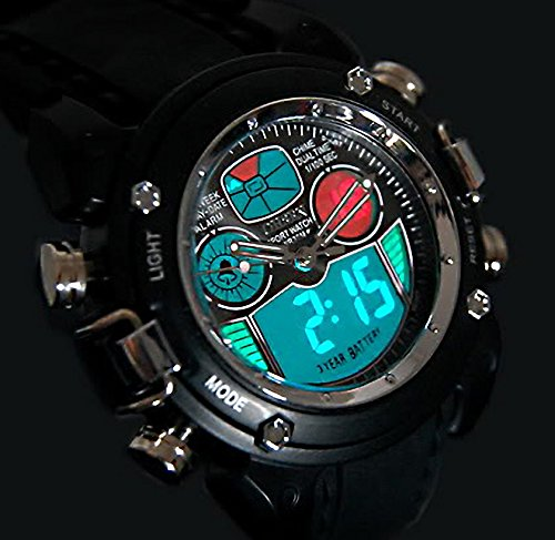 R-style analog digital dual display waterproof Sports Watch (black)