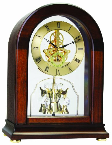 Arch Top Mantel Dark Wood Skeleton Pendulum Clock 12030
