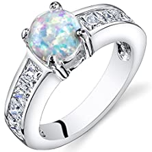 buy Created Opal Engagement Ring Sterling Silver 1.25 Carats Size 6