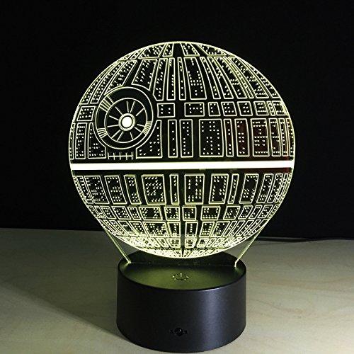 Star Wars Morte Nera modellismo 3D stereoscopico visiva luce USB lampada da tavolo Tuofeng notte interruttore pad leggero tocco del LED, e produce effetti di luce unici e la Visualizzazione tridimensionale 3D - Amazing illusione ottica