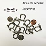 Bow Shackle, 4mm, SS, for Paracord Jewelry, Marine Tackle. 10 pieces