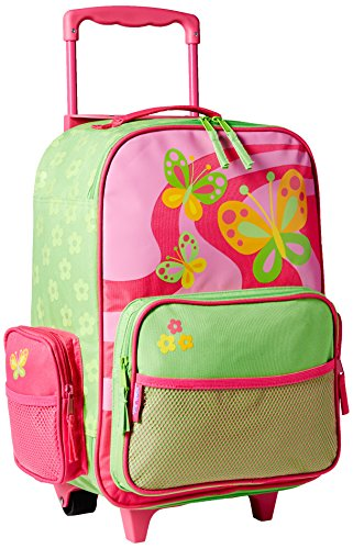 Stephen Joseph Girls 2-6x Rolling Butterfly Luggage,Hot Pink/Lime Green,One Size