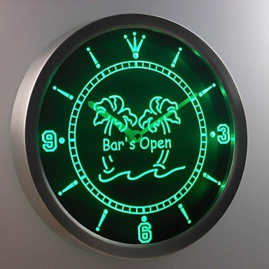 Nc0371 Bar'S Open Palm Tree Neon Sign Led Wall Clock