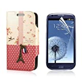 Flip PU Leather Case Cover For Samsung Galaxy S3 Mini i8190 + Protector PC445