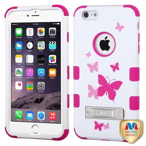 Cell Accessories For Less (TM) Apple iPhone 6 Plus 6S Plus (5.5) Butterfly Dancing/Hot Pink TUFF Hybrid Case Cover Stand Bundle (Stylus & Micro Cleaning Cloth) - By TheTargetBuys