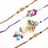 MJR Purple Blue-Bhaiya - Bhabhi Rakhi pair with Beautiful Hand work from Jaipur alongwith a Combo of Two Additional Rakhis and Roli - Chawal (Akshat) for Puja