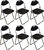 Harbour Housewares Black Padded, Folding, Desk Chair - Pack of 6
