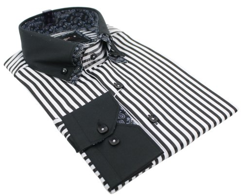 Mens Italian Double Button Collar Stripe Black & White Shirt Slim Fit Smart or Casual 100% Cotton