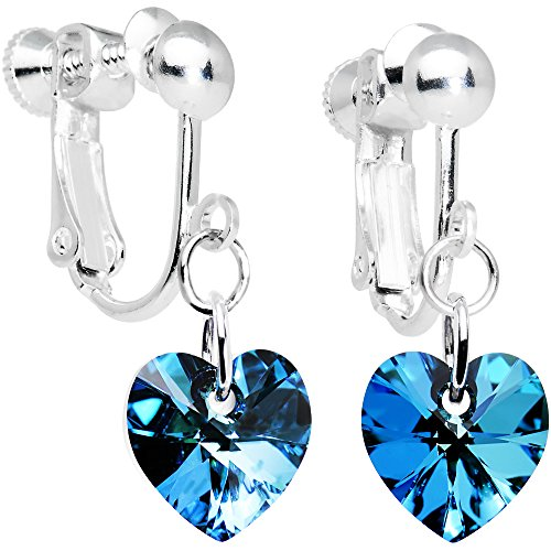 Body Candy Handcrafted Silver Plated Blue Heart Clip On Earrings Created with Swarovski Crystals (Clip On Earrings For Kids compare prices)