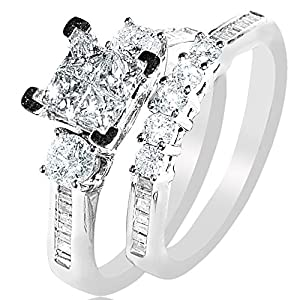 White Gold Diamond Bridal Set Wedding Rings .9ct Just Under 1ct Princess White Gold