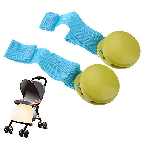 Pixnor Durable Hard Plastic Baby Stroller Quilt Blanket Clip - 2 pcs/set (Green)