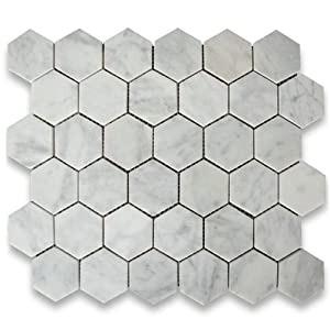 carrara white italian carrera marble hexagon mosaic tile 2