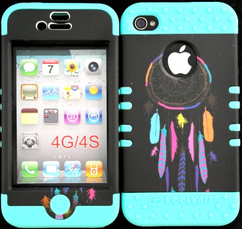 Bumper Case For Iphone 4 4S Colorful Dreamcatcher On Black Design Hard Plastic Snap On Baby Teal Silicone Gel front-912522