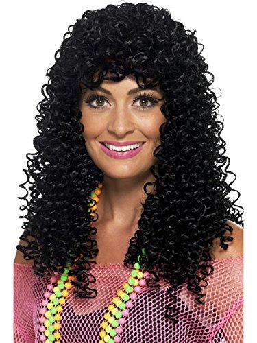 Smiffy's Women's 80's Wet Look Pop Star Wig, Black, One Size