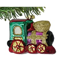 Barcana 3-Inch Shatterproof 4-Car Train Christmas Ornament Set