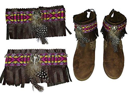 cubrebotas-etnico-country-corto-marron-plumas-artesanal