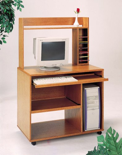 Buy Low Price Comfortable Computer Desk with Bookcase by Coaster – Oak (4344) (B005CUCQE6)