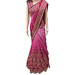 Pink Designer Georgette With Embroidered lehenga Saree.