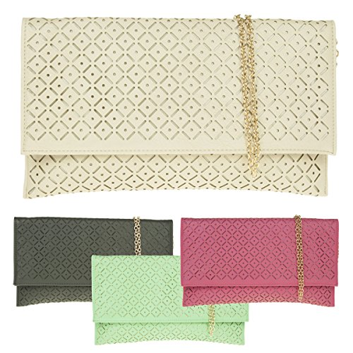 Girly HandBags Women's Perforated Envelope Clutch Bag