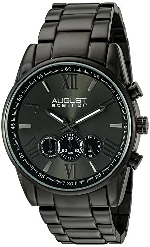 August Steiner Men's Japanese Quartz Watch with Black Dial Analogue Display and Black Stainless Steel Bracelet AS8163BK