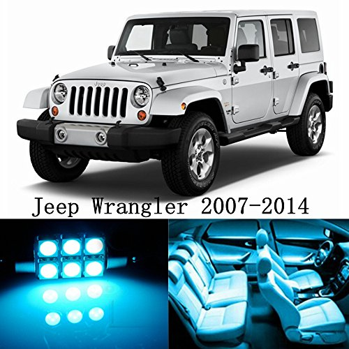 10pcs LED Premium ICE Blue Light Interior Package Deal for Jeep Wrangler 2007-2014
