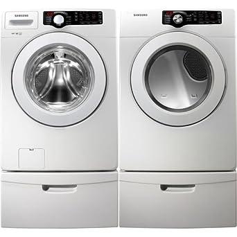 Samsung White 3.6 Cu Ft DOE Front Load Washer & 7.3 Cu. Ft. ELECTRIC Dryer Laundry Set with Pedestals WF361BVBEWR_DV361EWBEWR_WE357A0W