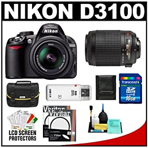 Nikon D3100 Digital SLR Camera & 18-55mm VR + 55-200mm VR Lens with 16GB Card + Filters + Case + Accessory Kit