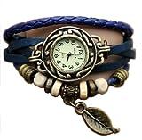 Bleu Feuille Montre - Bracelet cuir - Weave Wrap Around- Quartz Mode Rétro - Montre de femmes de dames + Gratuit Poche Caisse