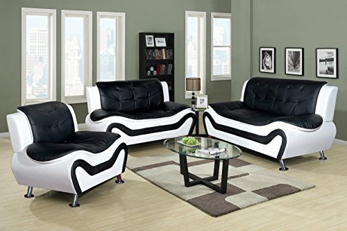 Beverly Furniture 3-Piece Black-White Contempraray Faux Leather Living Room Sofa Set