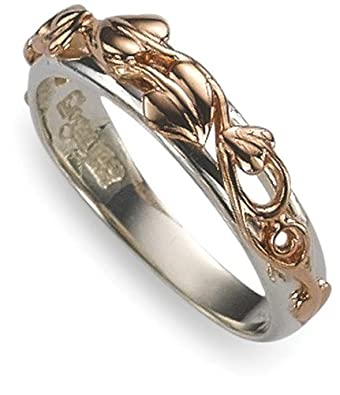 Clogau Sterling Silver & 9ct Rose Gold SILR Ladies Ivy Leaf Ring