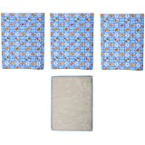 Mother N Child Cotton Baby Bedding Set (Blue & White, Pack Of 4)